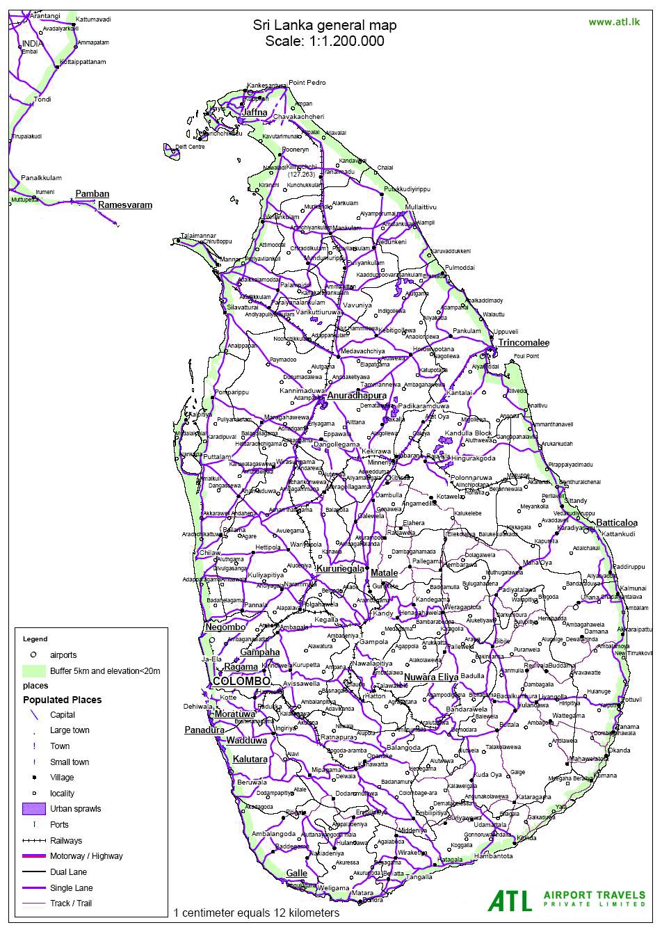 sri lanka road map with distance pdf